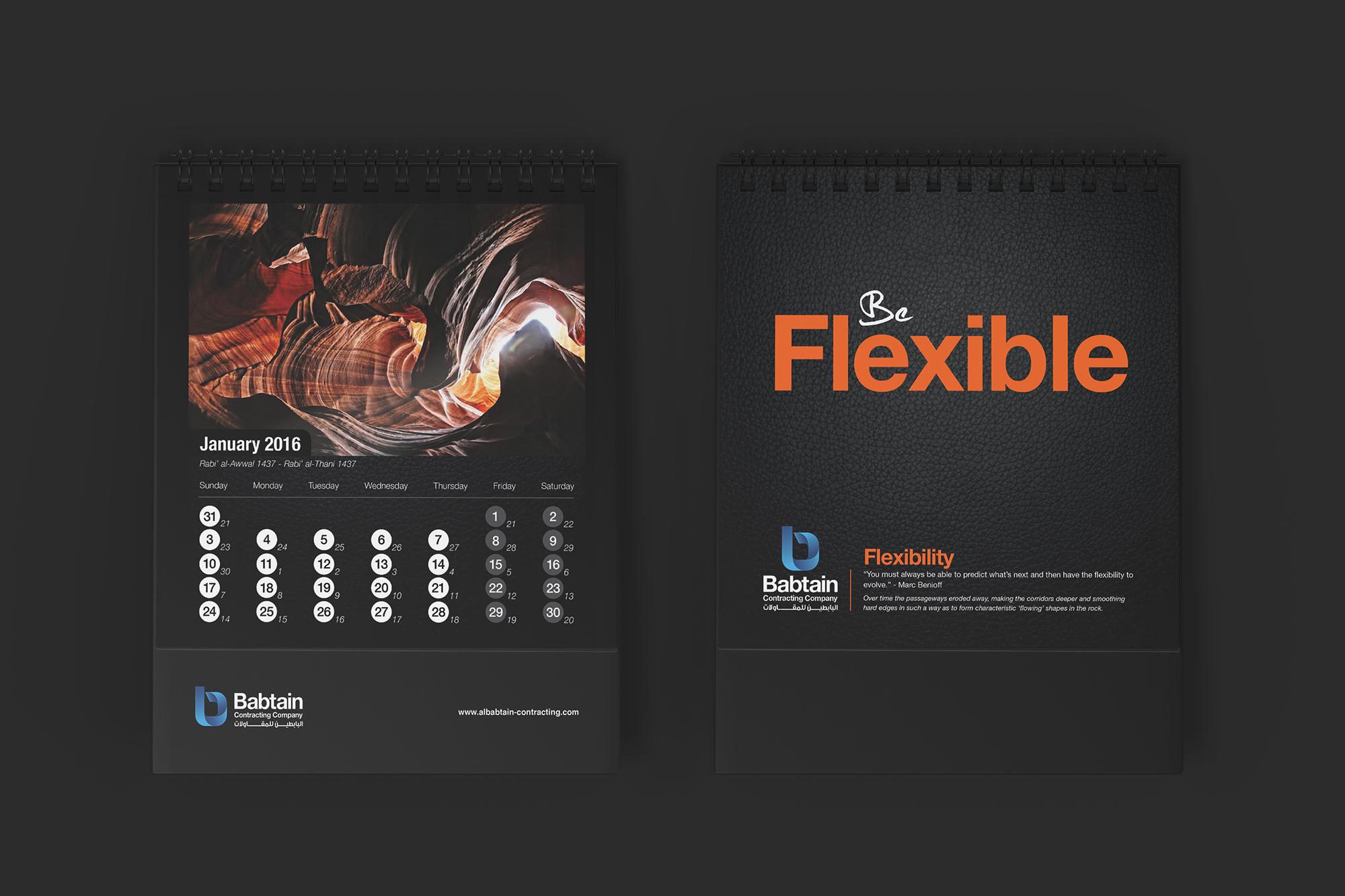 Be flexible Babtain Contracting Calendar.